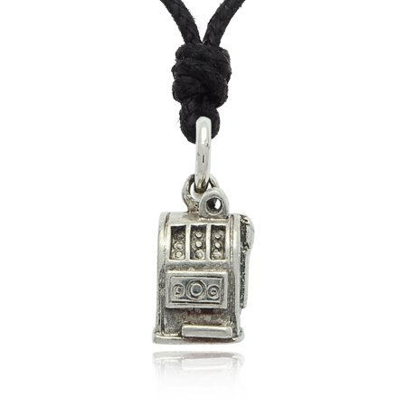 Slot Machines Gamble Las Vegas Silver Pewter Charm Necklace Pendant Jewelry With Cotton (Gambling Jewelry)