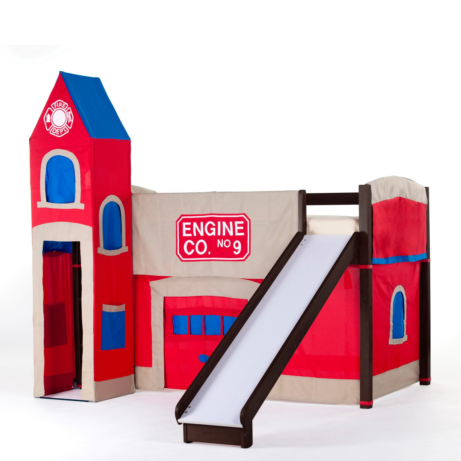 Hillsdale School House Junior Loft Bed With Slide And Firehouse Tent, Chocolate