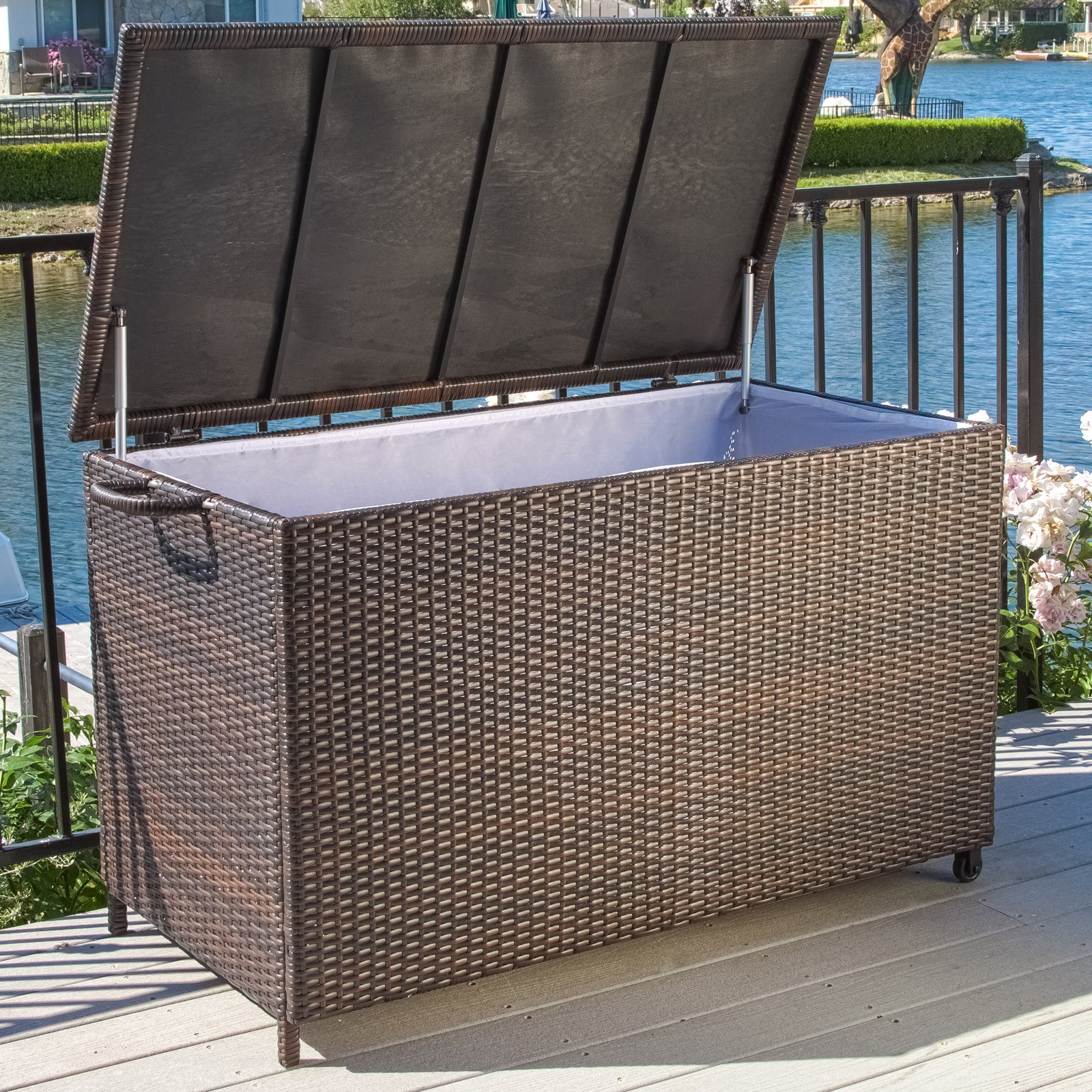 Best Selling Home Decor Furniture Anistan 54 in. 150-Gallon Wicker Deck Box by