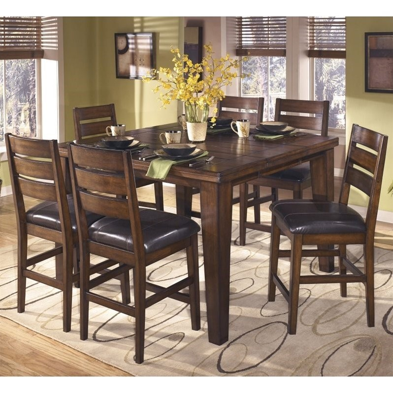 Ashley Larchmont 7 Piece Wood Counter Height Dining Set In Brown