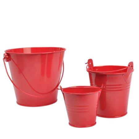 Tin Buckets Tinplate Pails with Handles Plant Pot Desktop Storage Organizer ()