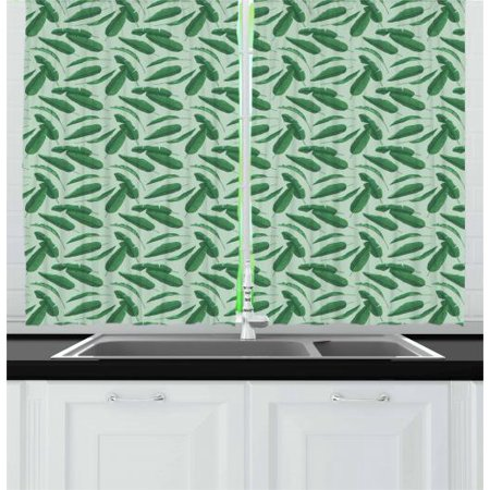 Banana Leaf Curtains 2 Panels Set, Jungle Rainforest Nature Theme Pattern with Tropical Foliage, Window Drapes for Living Room Bedroom, 55W X 39L Inches, Forest Green and Almond Green, by - Forest Themed Room Ideas