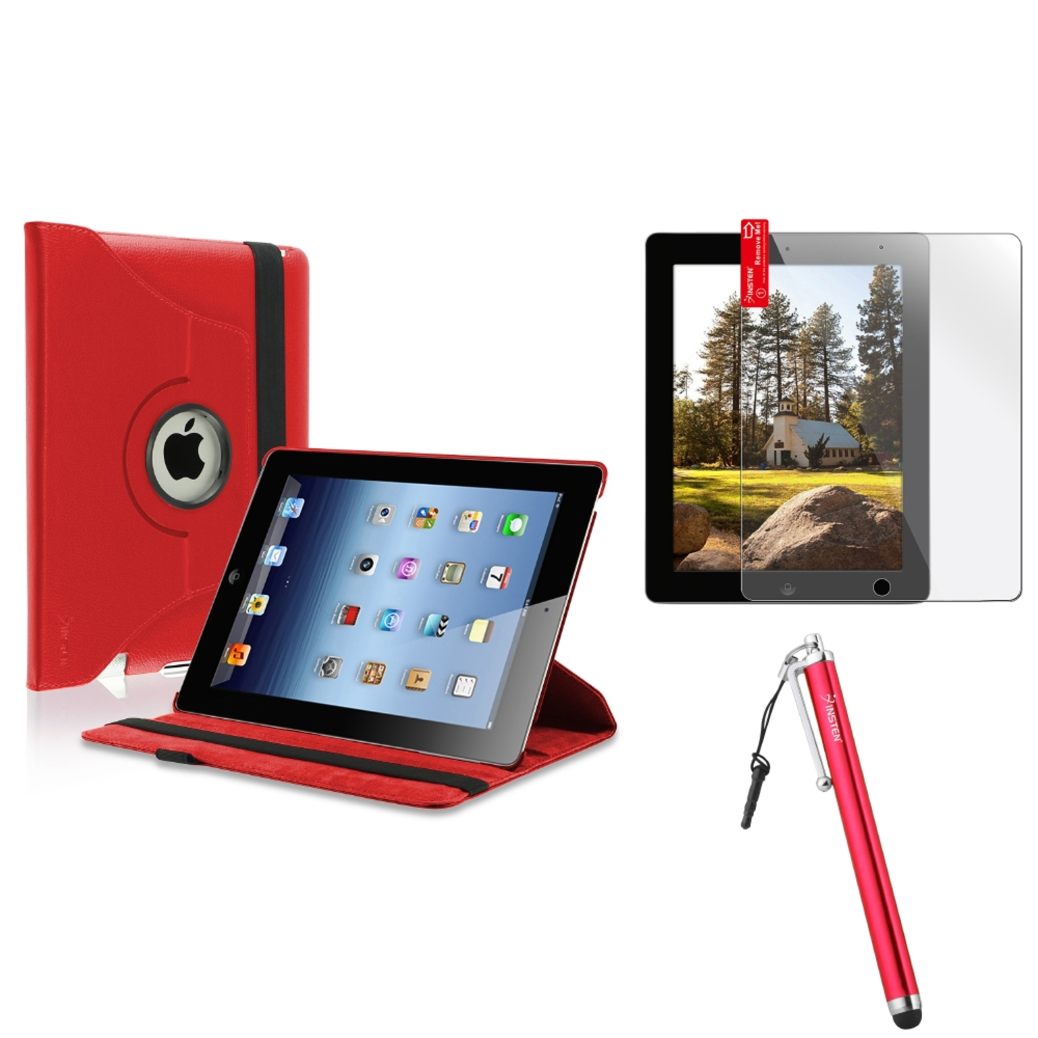 Insten For Apple iPad 4 4th 3 3rd 2 2nd 360 Rotating Leather Case Cover Swivel Stand Red (Supports Auto Sleep/Wake)