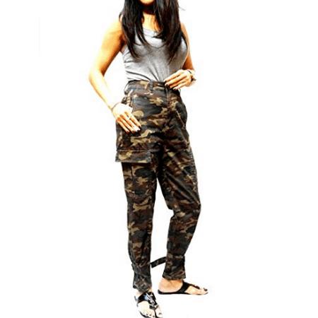 Womens Premium Cargo Paperbag Belt tie high Waisted Skinny Camoflage Jeans Pants (WA630)