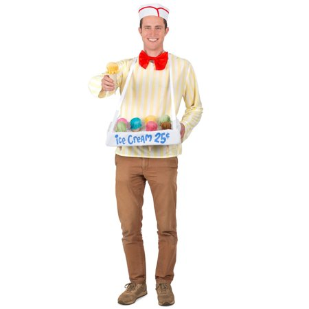 Halloween Adult Ice Cream Cone Salesman Costume](Safety Cone Costume)