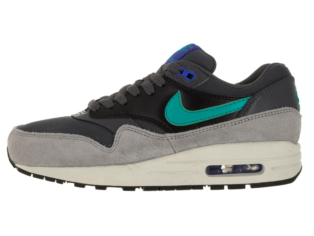 Nike Air Max 1 Essential Women's Shoes Dark Grey/Hyper Jade/Racer Blue/Black 599820-023