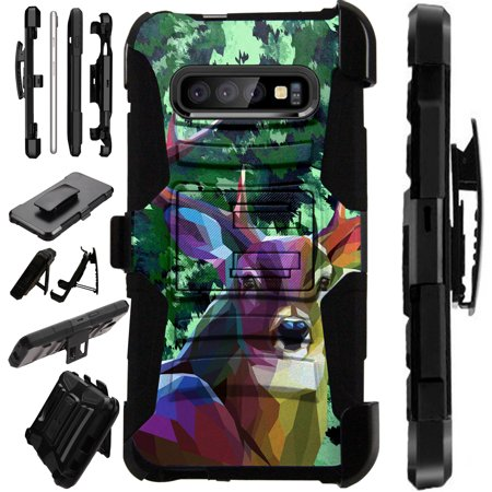 Compatible Samsung Galaxy S10 Plus S 10 Plus (2019) Case Armor Hybrid Phone Cover LuxGuard Holster (Deer