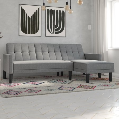 Sectional Design (DHP Haven Sectional Futon Sofa Couch, Tufted Design, Multiple Colors )
