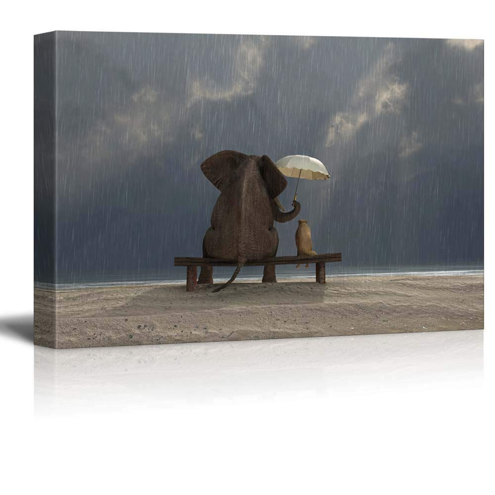 Elephant and Dog Sit under the Rain wall26-3 Piece Canvas Wall Art Modern Home Decor Stretched and Framed Ready to Hang