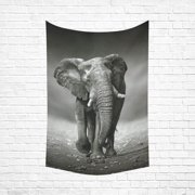 PHFZK African Animal Art Home Decor, Black and White Elephant Tapestry Wall Hanging 60 X 90 Inches