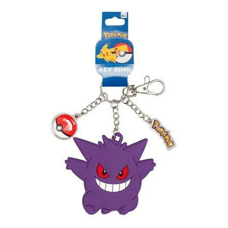 Pokemon Gengar Rubber and Pokeball Metal Charm Keychain