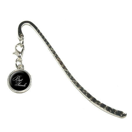Best Friends on Black Metal Bookmark with Charm