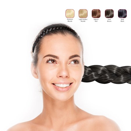 Hollywood Hair Flat Braid Headband - Bold Black (Braided Hair Headband)