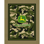 Springs Creative John Deere No Sew Fleece Throw Kit, Green Camo