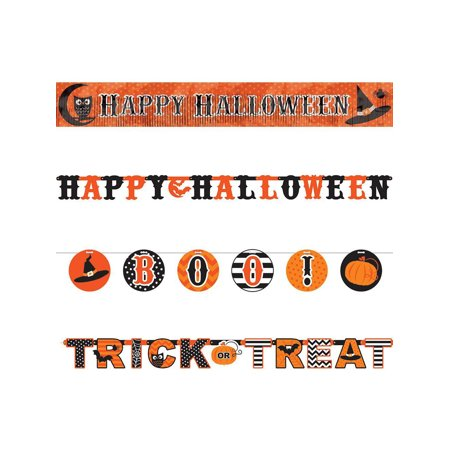 Modern Halloween Multi Letter Banners Set (4 Pack) - Party Supplies