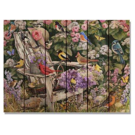 Daydream Giordanos Birds On Spring Chair Indoor/Outdoor Cedar Wall Art