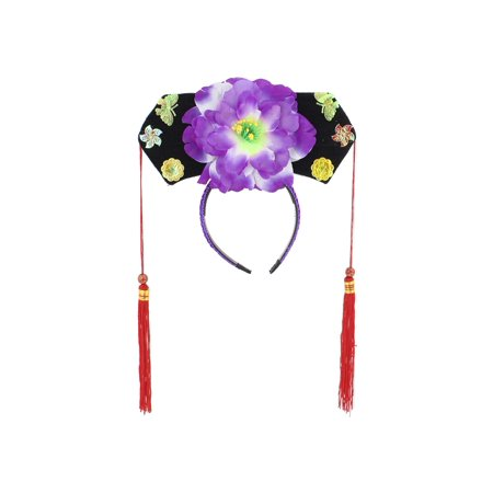 Unique Bargains Girls Tassels White Purple Peony Accent Oriental Chinese Princess Hairband Hat