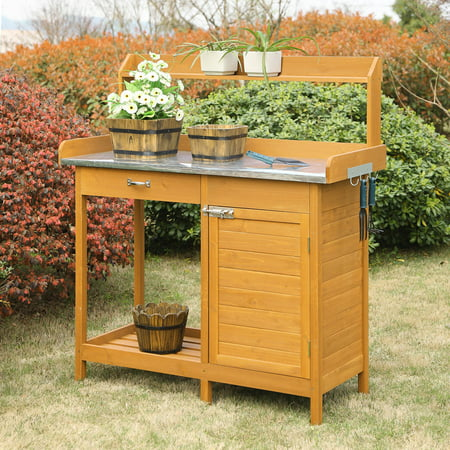 Plastic Planter Bench - Convenience Concepts Planters and Potts Deluxe Wood Potting Bench with Cabinet - Light Oak