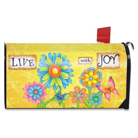 Live With Joy Spring Mailbox Cover Floral Inspirational Standard Briarwood Lane