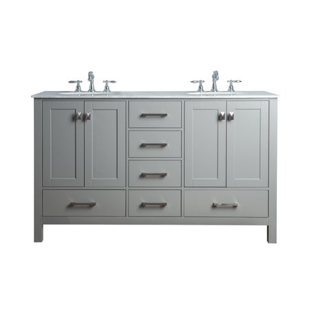 Stufurhome 60 inch Malibu Grey Double Sink Bathroom -