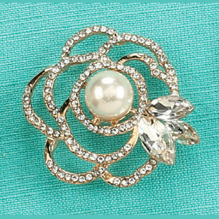 Golden Floral Pearl Brooch Jewelry Pin Decoration Keepsake Gift by