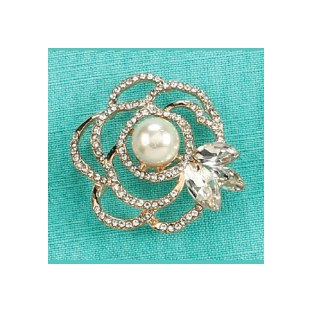 - Golden Floral Pearl Brooch Jewelry Pin Decoration Keepsake Gift