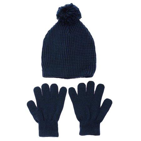 b967c3392b4 Hanes Boys Navy Thermal Winter Beanie Hat and Warm Stretch Glove Set Youth  4-16 - Walmart.com