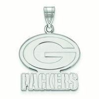 Green Bay Packers Sterling Silver Large Logo Pendant - No Size