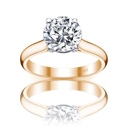 Solitaire Ring with Center Round Diamond 1.01ct I SI2. Graded by GIA cert ()