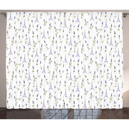 Eiffel Curtains 2 Panels Set, Pattern with Lavender Flowers Eiffel Tower Rustic Spring Inspired Botany, Window Drapes for Living Room Bedroom, 108W X 90L Inches, Lavender Green White, by
