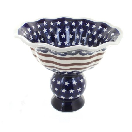 Polish Pottery Stars & Stripes Pedestal Fruit Bowl