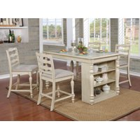 Furniture of America Wilson Rustic Counter Height USB Kitchen Island Table