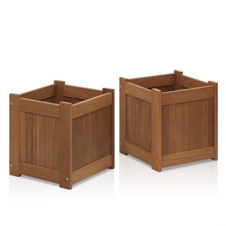 - Furinno Tioman Hardwood Flower Box in Teak Oil, Pack of 2, 2-FG16450
