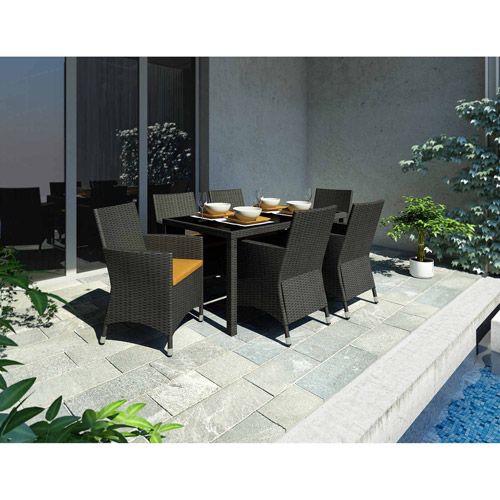 Sonax Z-506-TPP Park Terrace Black Weave 7pc Patio Dining Set