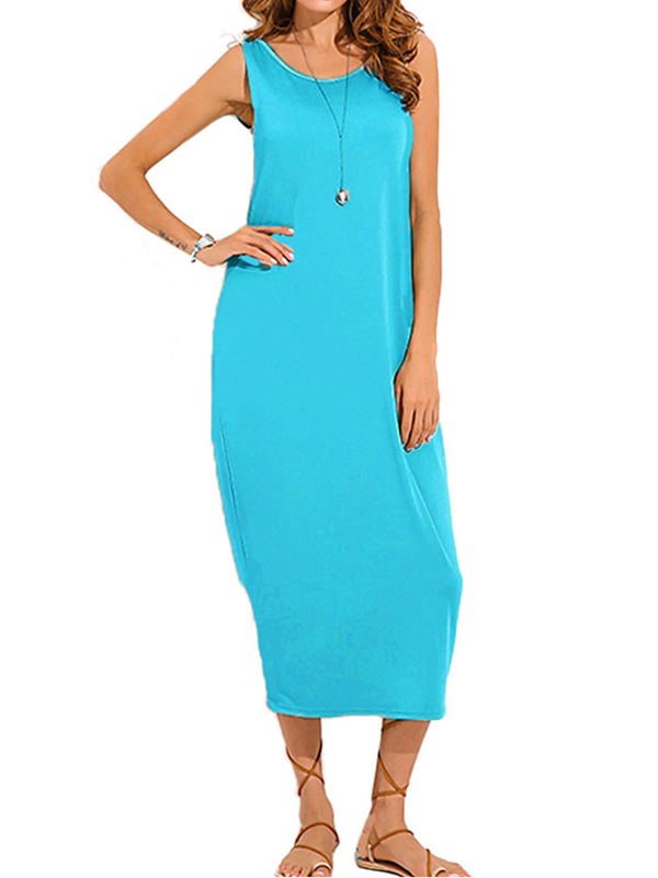 ZANZEA Womens Backless V Neck Long Maxi Beach Dress