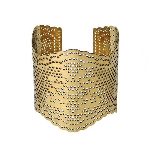 Global Crafts Handmade Lacey Goldtone Brass Cut-out Cuff Bracelet (India)