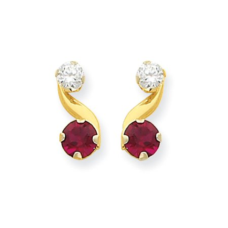 Synthetic Ruby and Cubic Zirconia Drop Earrings in 14k Yellow (Gold Cubic Zirconia Drop)