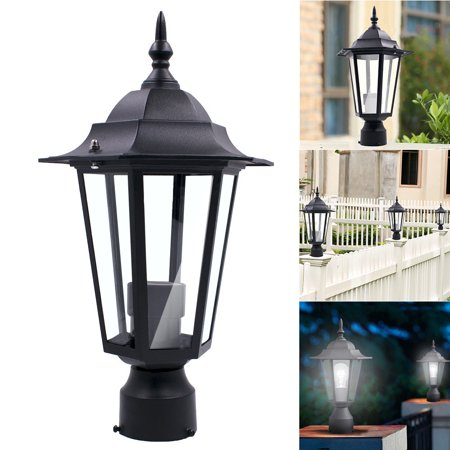 Tuscom Post Pole Light Outdoor Garden Patio Driveway Yard Lantern Lamp Fixture Black 1 Light Post Lamp