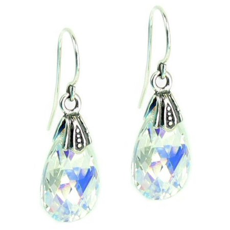 Aurora Borealis Swarovski Elements Teardrop Crystal Sterling Silver Dangle Earrings