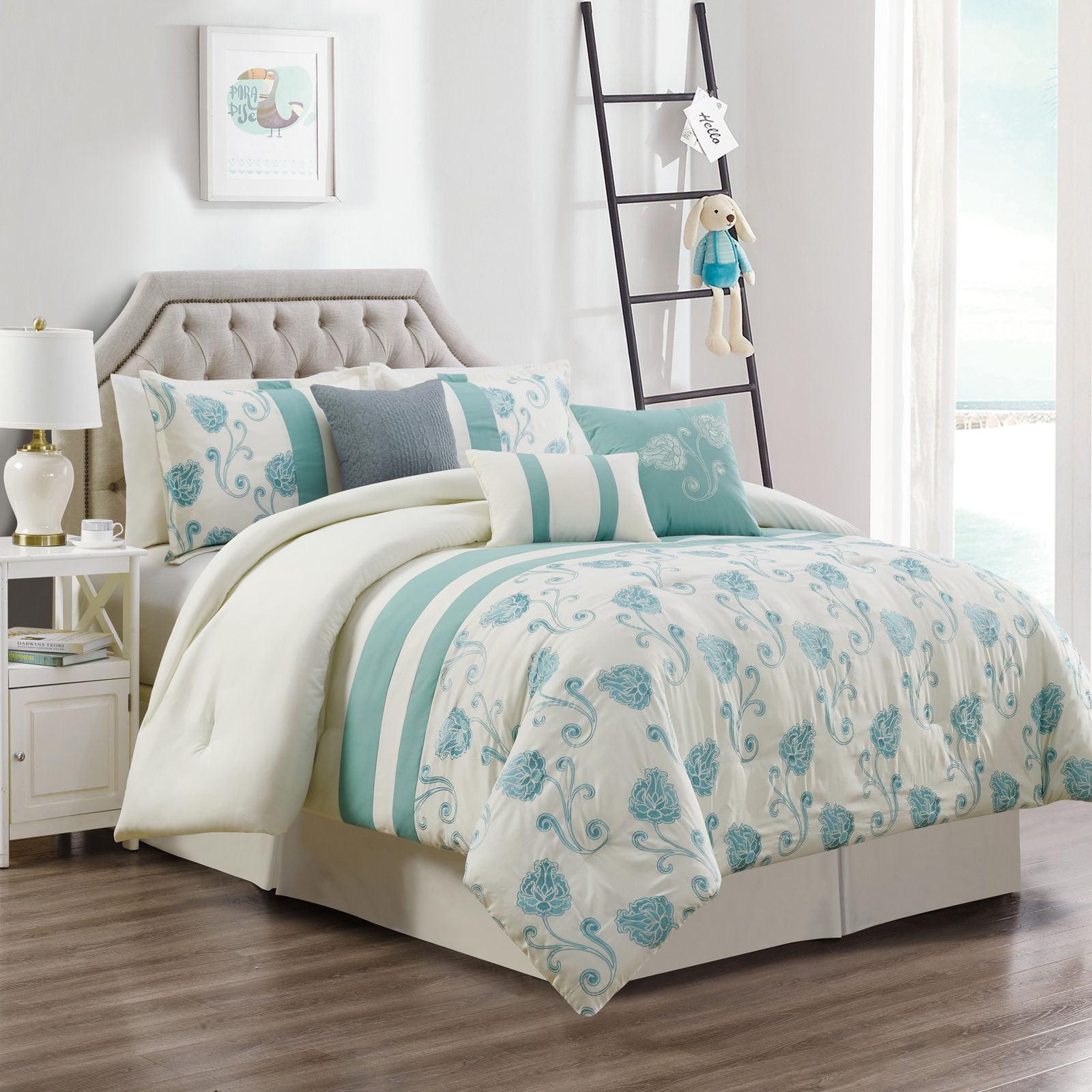 Chezmoi Collection Calais 7-Piece Floral Embroidery Comforter Set