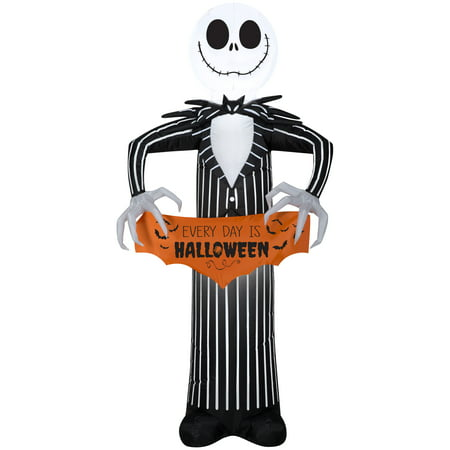 Halloween Airblown Inflatable Jack Skellington with Banner 5FT Tall by Gemmy Industries](Halloween Inflatable Entrance)