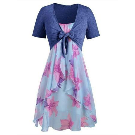Plus Size Women Printed 2 Pieces Dress Set 2 Piece Blue Dress