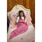 Pink Butterfly Fleece Mermaid Tail Throw for Kids by Down Home