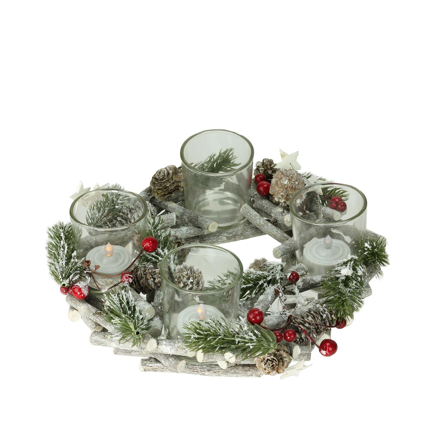 "10"" Bundle of Twigs Wreath with Berries and Stars Votive Candle Holder Centerpiece"