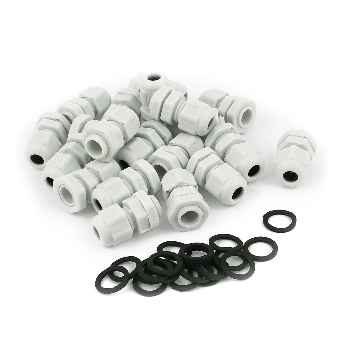 Unique Bargains 20 Pcs Water Resistant PG7 Type 3mm to 6.5mm Cable Gland Connector White