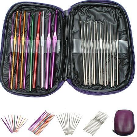22pcs Set Aluminum Crochet Hooks Knitting Weave Needles Knit Craft Tool Kit ()