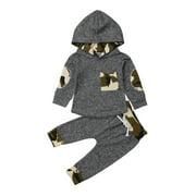 2PCS Infant Newborn Baby Boy Girl Hooded T-shirt Tops+Pants