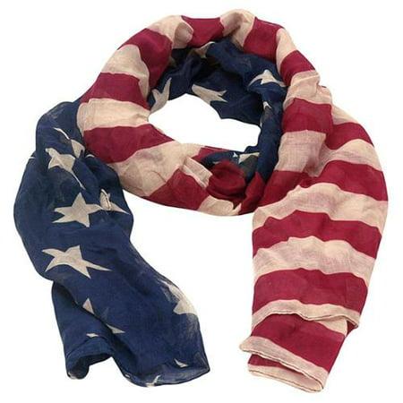 Girls Red Navy American Flag Design Star Stripes Patriotic (America Scarf)