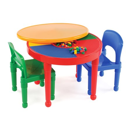 Little Colorado Play Table - Tot Tutors Kids 2-in-1 Plastic LEGO-Compatible Activity Table and 2 Chairs Set, Primary Colors