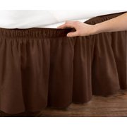 WRAP AROUND DUST RUFFLE, COTTON BLEND BED SKIRT, 14 INCH DROP, TWIN/FULL SIZE, BROWN